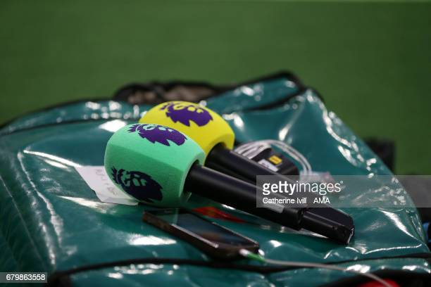 Microphones with the Premier League logo on during the Premier League match between West Ham United and Tottenham Hotspur at London Stadium on May 5...