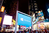 A Microsoft booth with Windows 8 logo is photographed during the opening of the company's store in Times Square in New York City on Thursday October...