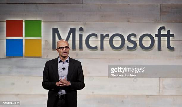 Microsoft CEO Satya Nadella addresses shareholders during Microsoft Shareholders Meeting December 3 2014 in Bellevue Washington The meeting was the...