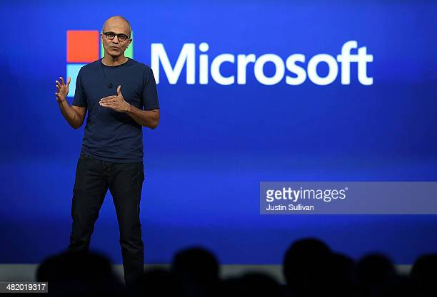 Microsoft CEO Satya Nadella delivers a keynote address during the 2014 Microsoft Build developer conference on April 2 2014 in San Francisco...