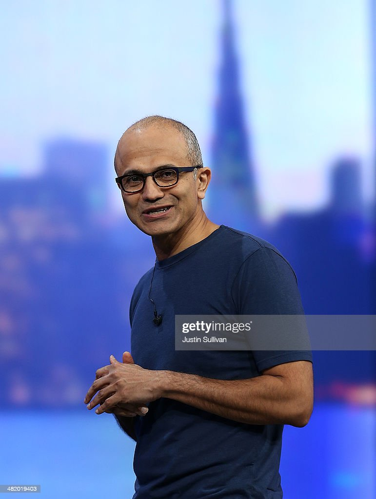 Microsoft CEO <a gi-track='captionPersonalityLinkClicked' href=/galleries/search?phrase=Satya+Nadella&family=editorial&specificpeople=7402445 ng-click='$event.stopPropagation()'>Satya Nadella</a> delivers a keynote address during the 2014 Microsoft Build developer conference on April 2, 2014 in San Francisco, California. <a gi-track='captionPersonalityLinkClicked' href=/galleries/search?phrase=Satya+Nadella&family=editorial&specificpeople=7402445 ng-click='$event.stopPropagation()'>Satya Nadella</a> delivered the opening keynote to kick off the 2014 Microsoft Build developer conference which runs through April 4.