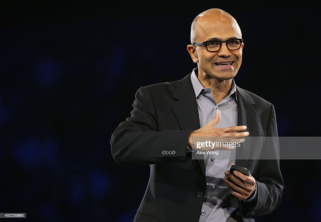 Microsoft CEO <a gi-track='captionPersonalityLinkClicked' href=/galleries/search?phrase=Satya+Nadella&family=editorial&specificpeople=7402445 ng-click='$event.stopPropagation()'>Satya Nadella</a> delivers keynote remarks during the 2014 Microsoft Worldwide Partner Conference July 16, 2014 in Washington, DC. Nadella spoke on 'his vision for our joint success in a mobile-first, cloud-first world' during the annual event.