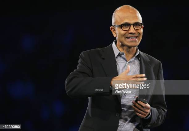 Microsoft CEO Satya Nadella delivers keynote remarks during the 2014 Microsoft Worldwide Partner Conference July 16 2014 in Washington DC Nadella...
