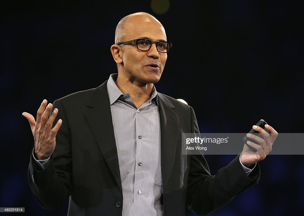 Microsoft CEO Satya Nadella delivers keynote remarks during the 2014 Microsoft Worldwide Partner Conference July 16, 2014 in Washington, DC. Nadella spoke on 'his vision for our joint success in a mobile-first, cloud-first world' during the annual event.