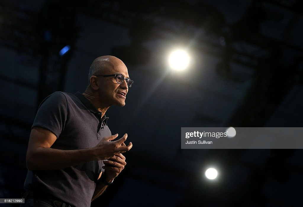 Microsoft CEO Satya Nadella delivers the keynote address during the 2016 Microsoft Build Developer Conference on March 30 2016 in San Francisco...