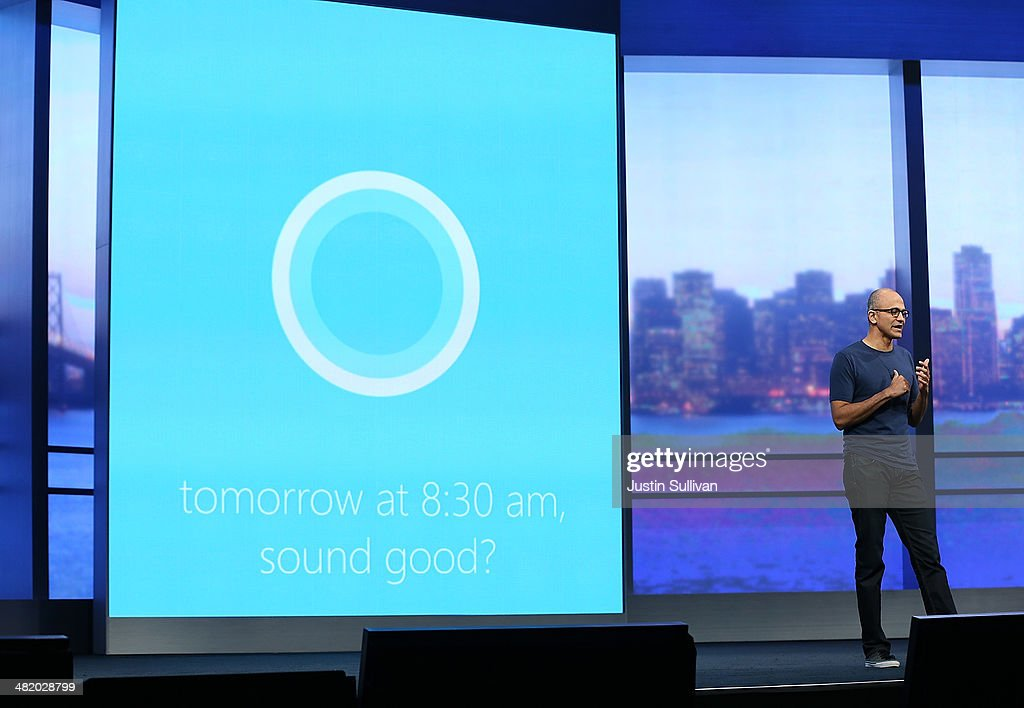 Microsoft CEO Satya Nadella demonstrates Cortana, a new digital personal assistant function for Windows phones, as he delivers a keynote address during the 2014 Microsoft Build developer conference on April 2, 2014 in San Francisco, California. Satya Nadella delivered the opening keynote to kick off the 2014 Microsoft Build developer conference which runs through April 4.