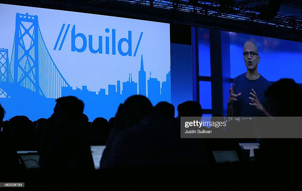 Microsoft CEO Satya Nadella is projected on a video screen as he delivers a keynote address during the 2014 Microsoft Build developer conference on April 2, 2014 in San Francisco, California. Satya Nadella delivered the opening keynote to kick off the 2014 Microsoft Build developer conference which runs through April 4.