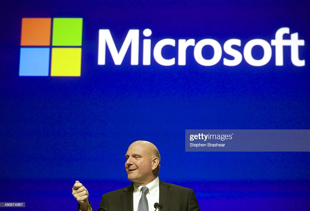 Microsoft CEO <a gi-track='captionPersonalityLinkClicked' href=/galleries/search?phrase=Steve+Ballmer&family=editorial&specificpeople=211258 ng-click='$event.stopPropagation()'>Steve Ballmer</a> addresses shareholders during the Microsoft Shareholders Annual Meeting November 19, 2013 in Bellevue, Washington. The meeting was the last for <a gi-track='captionPersonalityLinkClicked' href=/galleries/search?phrase=Steve+Ballmer&family=editorial&specificpeople=211258 ng-click='$event.stopPropagation()'>Steve Ballmer</a> as CEO, of which there have only been two in Microsoft's history.