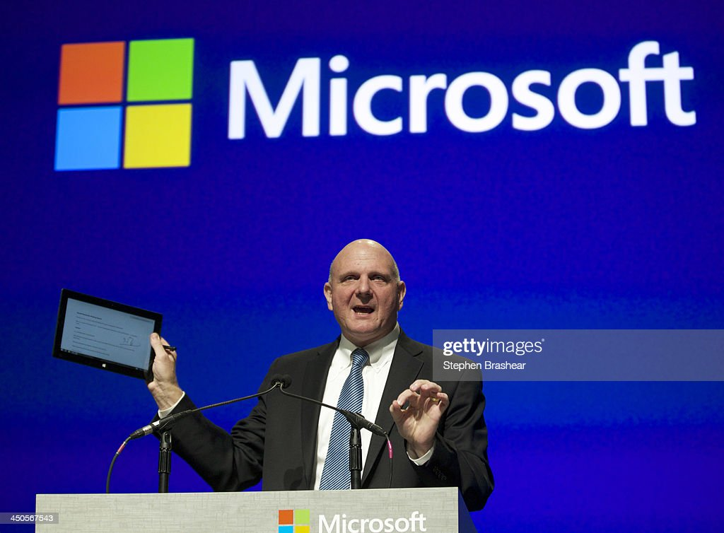 Microsoft CEO <a gi-track='captionPersonalityLinkClicked' href=/galleries/search?phrase=Steve+Ballmer&family=editorial&specificpeople=211258 ng-click='$event.stopPropagation()'>Steve Ballmer</a> addresses shareholders while holding up a tablet during the Microsoft Shareholders Annual Meeting November 19, 2013 in Bellevue, Washington. The meeting was the last for <a gi-track='captionPersonalityLinkClicked' href=/galleries/search?phrase=Steve+Ballmer&family=editorial&specificpeople=211258 ng-click='$event.stopPropagation()'>Steve Ballmer</a> as CEO, of which there have only been two in Microsoft's history.