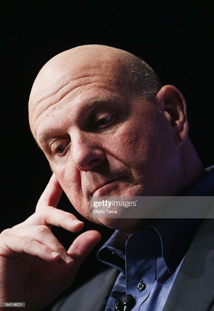 Microsoft CEO <a gi-track='captionPersonalityLinkClicked' href=/galleries/search?phrase=Steve+Ballmer&family=editorial&specificpeople=211258 ng-click='$event.stopPropagation()'>Steve Ballmer</a> attends a press conference unveiling the Windows 8 operating system on October 25, 2012 in New York City. Windows 8 offers a touch interface in an effort to bridge the gap between tablets and personal computers.