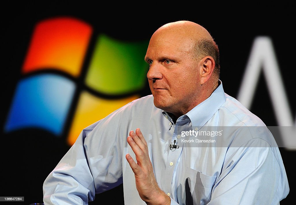 Microsoft CEO <a gi-track='captionPersonalityLinkClicked' href=/galleries/search?phrase=Steve+Ballmer&family=editorial&specificpeople=211258 ng-click='$event.stopPropagation()'>Steve Ballmer</a> delivers a keynote address at the 2012 International Consumer Electronics Show at The Venetian January 9, 2012 in Las Vegas, Nevada. CES, the world's largest annual consumer technology trade show, runs through January 13 and is expected to feature 2,700 exhibitors showing off their latest products and services to about 140,000 attendees.