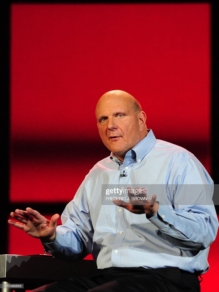 Microsoft CEO <a gi-track='captionPersonalityLinkClicked' href=/galleries/search?phrase=Steve+Ballmer&family=editorial&specificpeople=211258 ng-click='$event.stopPropagation()'>Steve Ballmer</a> gestures during his keynote address for CES 2012 at the annual Consumer Electronics Show on January 9, 2012 in Las Vegas, Nevada. AFP PHOTO / Frederic J. BROWN