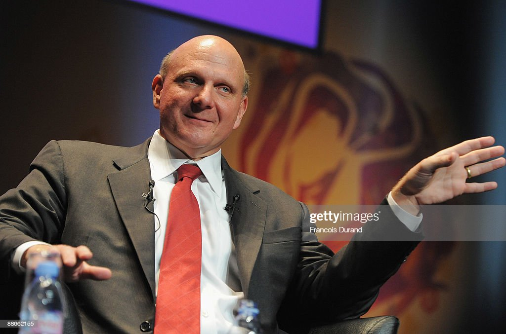 Microsoft CEO <a gi-track='captionPersonalityLinkClicked' href=/galleries/search?phrase=Steve+Ballmer&family=editorial&specificpeople=211258 ng-click='$event.stopPropagation()'>Steve Ballmer</a> gives a speech during the Microsoft Advertising Seminar as part of the 56th Cannes Lions International Advertising Festival on June 24, 2009 in Cannes, France. The annual festival is on from June 21 - 27.