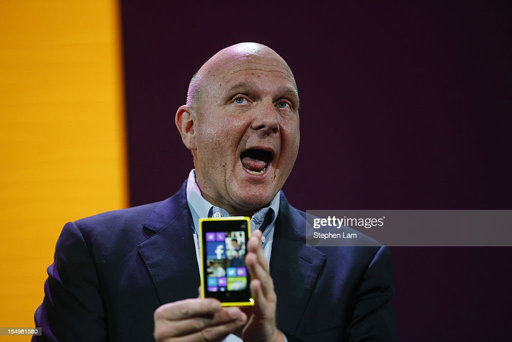 Microsoft CEO Steve Ballmer holds a Nokia Lumia 920 smartphone during a Windows Phone 8 launch event at Bill Graham Civic Auditorium on October 29, 2012 in San Francisco, California. The Windows Phone 8 marks the Seattle-based company's latest update from its two-year-old Windows Phone 7 platform as the company looks to compete in the increasingly dense smartphone segment dominated by rivals Apple and Google.