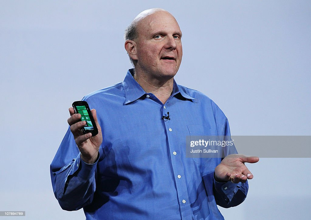 Microsoft CEO <a gi-track='captionPersonalityLinkClicked' href=/galleries/search?phrase=Steve+Ballmer&family=editorial&specificpeople=211258 ng-click='$event.stopPropagation()'>Steve Ballmer</a> holds a Windows Phone 7 as he delivers a keynote address at the 2011 International Consumer Electronics Show at the Las Vegas Hilton January 5, 2011 in Las Vegas, Nevada. CES, the world's largest annual consumer technology tradeshow, runs from January 6-9 and is expected to feature 2,700 exhibitors showing off their latest products and services to about 126,000 attendees.