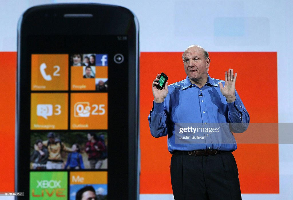 Microsoft CEO Steve Ballmer holds a Windows Phone 7 as he delivers a keynote address at the 2011 International Consumer Electronics Show at the Las Vegas Hilton January 5, 2011 in Las Vegas, Nevada. CES, the world's largest annual consumer technology tradeshow, runs from January 6-9 and is expected to feature 2,700 exhibitors showing off their latest products and services to about 126,000 attendees.