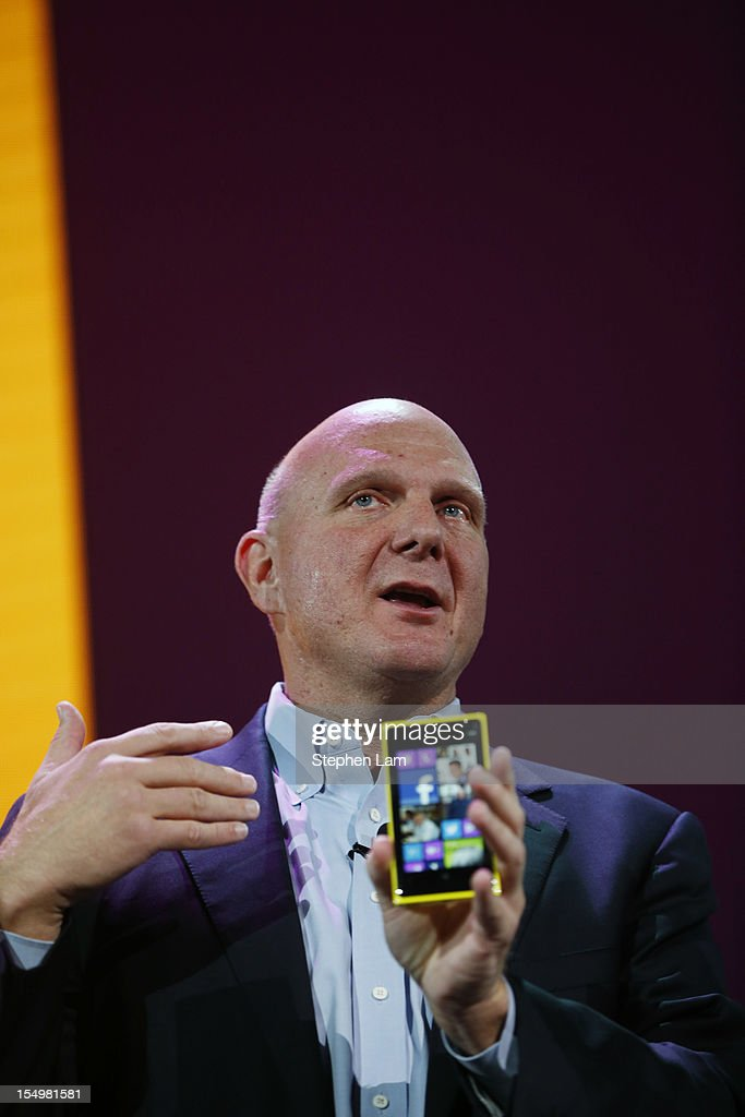 Microsoft CEO <a gi-track='captionPersonalityLinkClicked' href=/galleries/search?phrase=Steve+Ballmer&family=editorial&specificpeople=211258 ng-click='$event.stopPropagation()'>Steve Ballmer</a> holds a Windows Phone 8X by HTC smartphone during a Windows Phone 8 launch event at Bill Graham Civic Auditorium on October 29, 2012 in San Francisco, California. The Windows Phone 8 marks the Seattle-based company's latest update from its two-year-old Windows Phone 7 platform as the company looks to compete in the increasingly dense smartphone segment dominated by rivals Apple and Google.