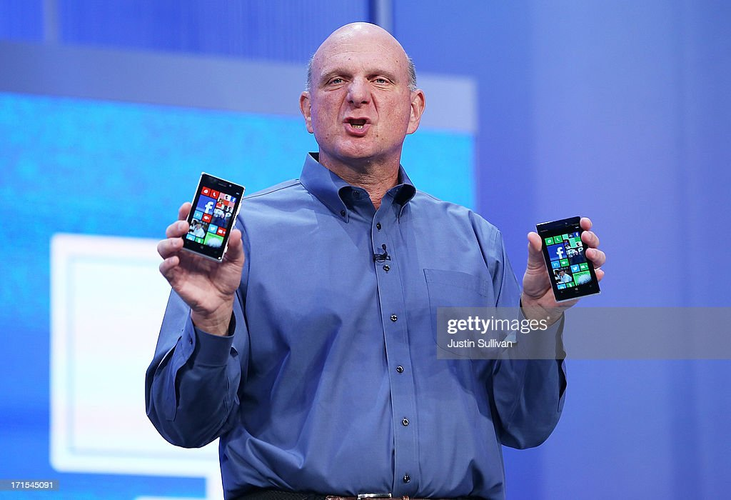 Microsoft CEO <a gi-track='captionPersonalityLinkClicked' href=/galleries/search?phrase=Steve+Ballmer&family=editorial&specificpeople=211258 ng-click='$event.stopPropagation()'>Steve Ballmer</a> holds two Windows phones as he speaks during the keynote address during the Microsoft Build Conference on June 26, 2013 in San Francisco, California. Microsoft debuted an upgrade to their Windows 8 operating system during the Microsoft Build Conference that runs through June 28.