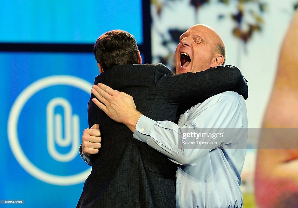 Microsoft CEO <a gi-track='captionPersonalityLinkClicked' href=/galleries/search?phrase=Steve+Ballmer&family=editorial&specificpeople=211258 ng-click='$event.stopPropagation()'>Steve Ballmer</a> hugs host <a gi-track='captionPersonalityLinkClicked' href=/galleries/search?phrase=Ryan+Seacrest&family=editorial&specificpeople=201694 ng-click='$event.stopPropagation()'>Ryan Seacrest</a> before his keynote address at the 2012 International Consumer Electronics Show at The Venetian January 9, 2012 in Las Vegas, Nevada. CES, the world's largest annual consumer technology trade show, runs through January 13 and is expected to feature 2,700 exhibitors showing off their latest products and services to about 140,000 attendees.