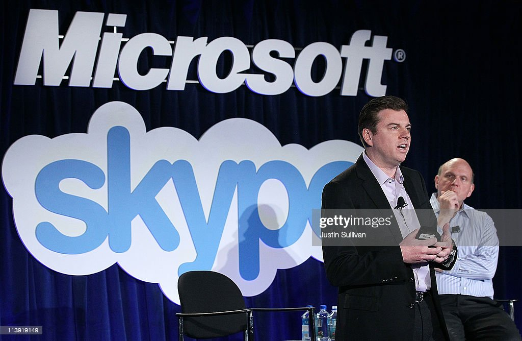 Microsoft CEO Steve Ballmer (R) looks on as Skype CEO Tony Bates speaks during a news conference about Microsoft's purchase of Skype on May 10, 2011 in San Francisco, California. Microsoft has agreed to buy Skype for $8.5 billion.