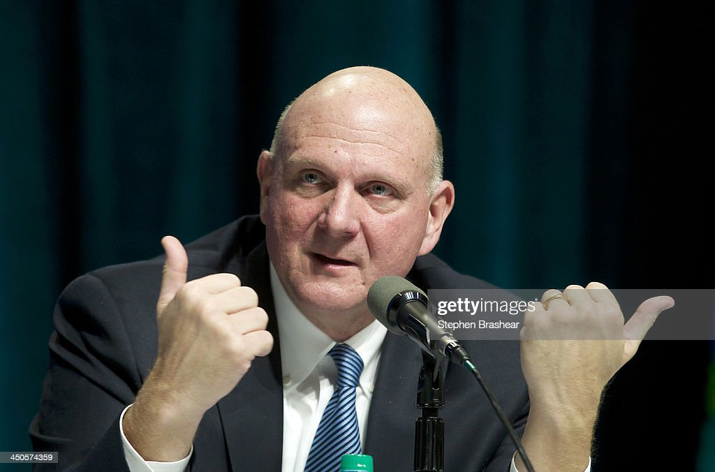 Microsoft CEO <a gi-track='captionPersonalityLinkClicked' href=/galleries/search?phrase=Steve+Ballmer&family=editorial&specificpeople=211258 ng-click='$event.stopPropagation()'>Steve Ballmer</a> responds to a shareholder question during the Microsoft Shareholders Annual Meeting November 19, 2013 in Bellevue, Washington. Bellevue, Washington. The meeting was the last for <a gi-track='captionPersonalityLinkClicked' href=/galleries/search?phrase=Steve+Ballmer&family=editorial&specificpeople=211258 ng-click='$event.stopPropagation()'>Steve Ballmer</a> as CEO, of which there have only been two in Microsoft's history.