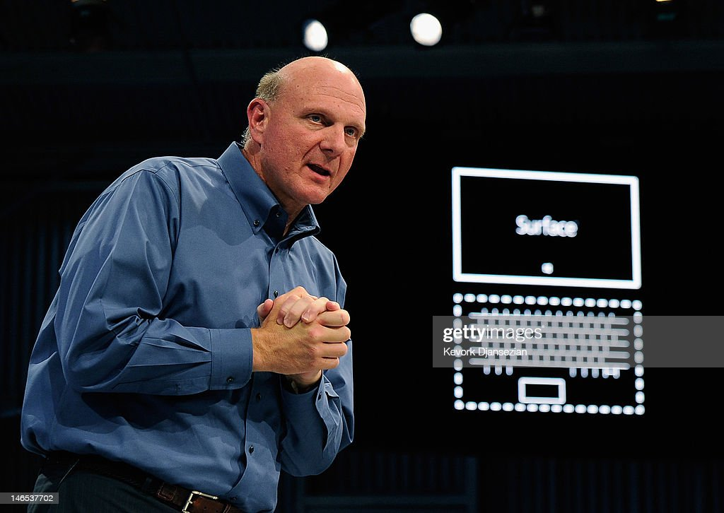 Microsoft CEO <a gi-track='captionPersonalityLinkClicked' href=/galleries/search?phrase=Steve+Ballmer&family=editorial&specificpeople=211258 ng-click='$event.stopPropagation()'>Steve Ballmer</a> shows the new tablet called Surface during a news conference at Milk Studios on June 18, 2012 in Los Angeles, California. The new Surface tablet has a 10.6 inch screen complete with cover that contains a full multitouch keyboard.