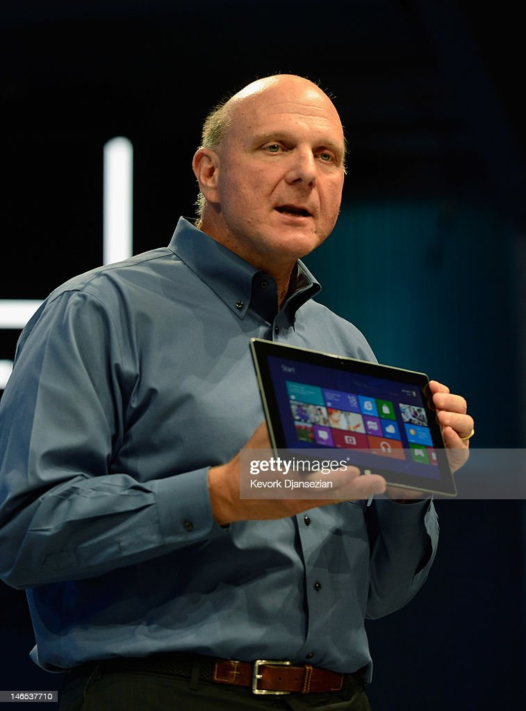 Microsoft CEO Steve Ballmer shows the new tablet called Surface during a news conference at Milk Studios on June 18, 2012 in Los Angeles, California. The new Surface tablet has a 10.6 inch screen complete with cover that contains a full multitouch keyboard.