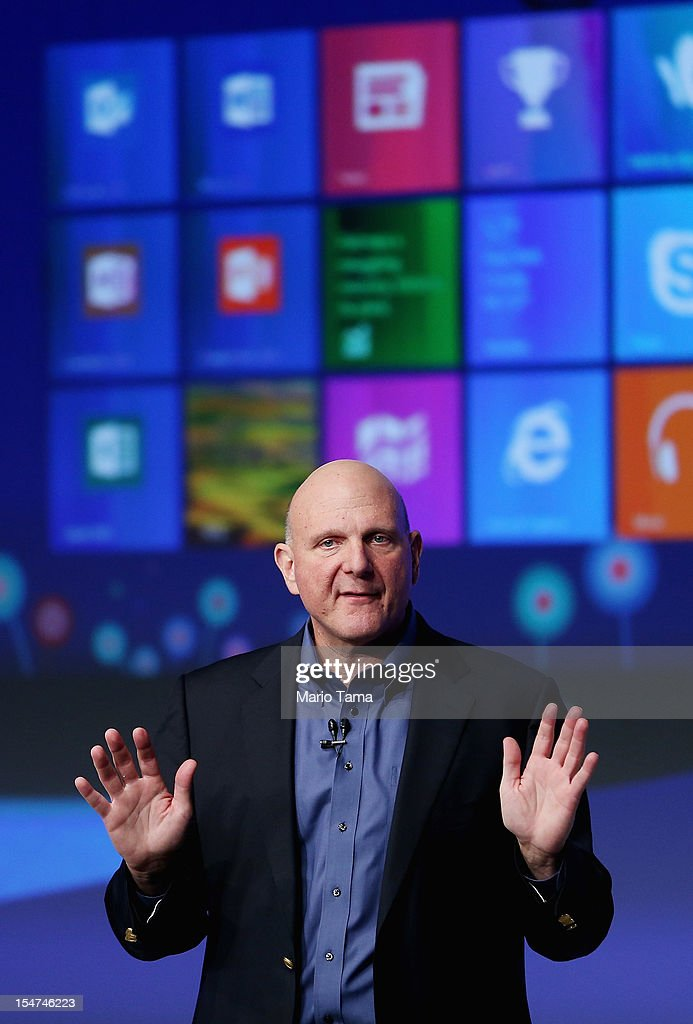 Microsoft CEO <a gi-track='captionPersonalityLinkClicked' href=/galleries/search?phrase=Steve+Ballmer&family=editorial&specificpeople=211258 ng-click='$event.stopPropagation()'>Steve Ballmer</a> speaks at a press conference unveiling the Windows 8 operating system on October 25, 2012 in New York City. Windows 8 offers a touch interface in an effort to bridge the gap between tablets and personal computers.