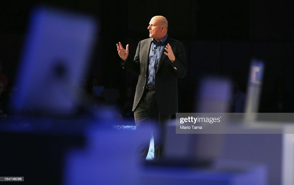 Microsoft CEO <a gi-track='captionPersonalityLinkClicked' href=/galleries/search?phrase=Steve+Ballmer&family=editorial&specificpeople=211258 ng-click='$event.stopPropagation()'>Steve Ballmer</a> speaks at a press conference unveiling the Windows 8 operating system on October 25, 2012 in New York City. Windows 8 will offer a touch interface in an effort to bridge the gap between tablets, smartphones and personal computers. Microsoft will also be selling a tablet called Surface to compete in the competitive tablet market.