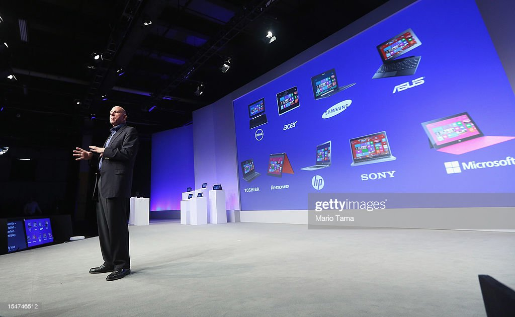 Microsoft CEO Steve Ballmer speaks at a press conference unveiling the Windows 8 operating system on October 25, 2012 in New York City. Windows 8 will offer a touch interface in an effort to bridge the gap between tablets, smartphones and personal computers. Microsoft will also be selling a tablet called Surface to compete in the competitive tablet market.