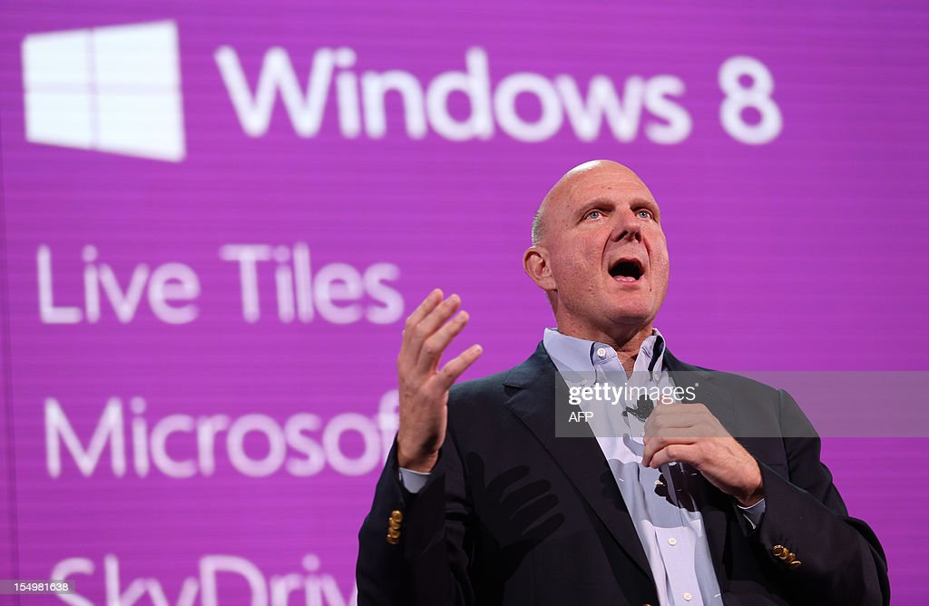 Microsoft CEO Steve Ballmer speaks at a special media event to announce the next generation Windows Phone, Windows Phone 8, at the Bill Graham Auditorium in San Francisco on October 29, 2012 in California. AFP Photo Kimihiro Hoshino