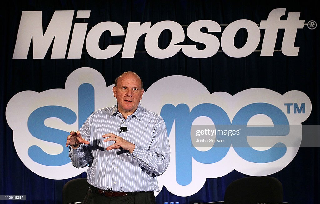 Microsoft CEO <a gi-track='captionPersonalityLinkClicked' href=/galleries/search?phrase=Steve+Ballmer&family=editorial&specificpeople=211258 ng-click='$event.stopPropagation()'>Steve Ballmer</a> speaks during a news conference about Microsoft's purchase of Skype on May 10, 2011 in San Francisco, California. Microsoft has agreed to buy Skype for $8.5 billion.