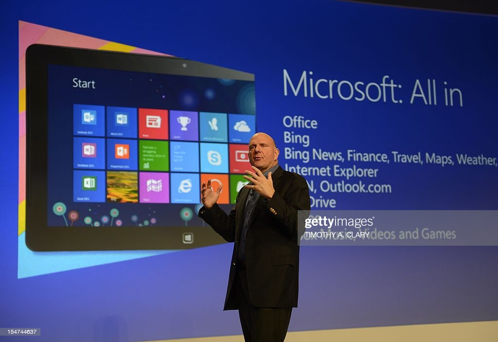 Microsoft CEO Steve Ballmer speaks during a press conference at Pier 57 to officially launch Windows 8 in New York October 25, 2012. Microsoft said Thursday its 'reimagined' Windows 8 will launch Friday in 37 languages and 140 worldwide markets, as the tech giant unveiled the new version of its computer operating system. AFP PHOTO / TIMOTHY A. CLARY