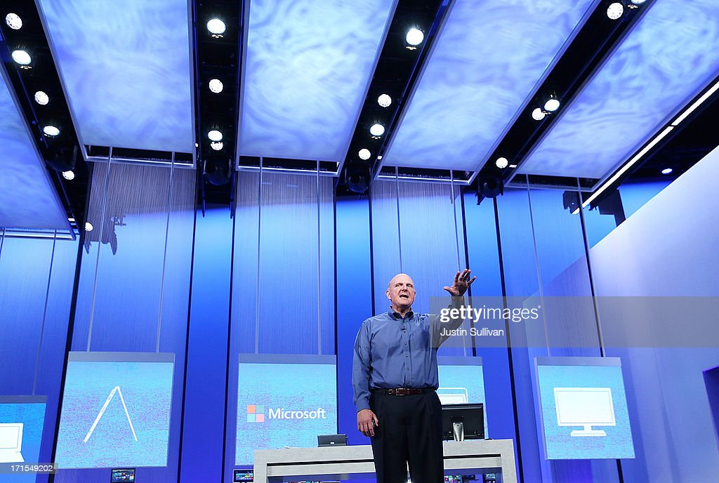 Microsoft CEO <a gi-track='captionPersonalityLinkClicked' href=/galleries/search?phrase=Steve+Ballmer&family=editorial&specificpeople=211258 ng-click='$event.stopPropagation()'>Steve Ballmer</a> speaks during the keynote address during the Microsoft Build Conference on June 26, 2013 in San Francisco, California. Microsoft debuted an upgrade to their Windows 8 operating system during the Microsoft Build Conference that runs through June 28.