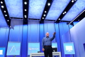 Microsoft CEO Steve Ballmer speaks during the keynote address during the Microsoft Build Conference on June 26 2013 in San Francisco California...