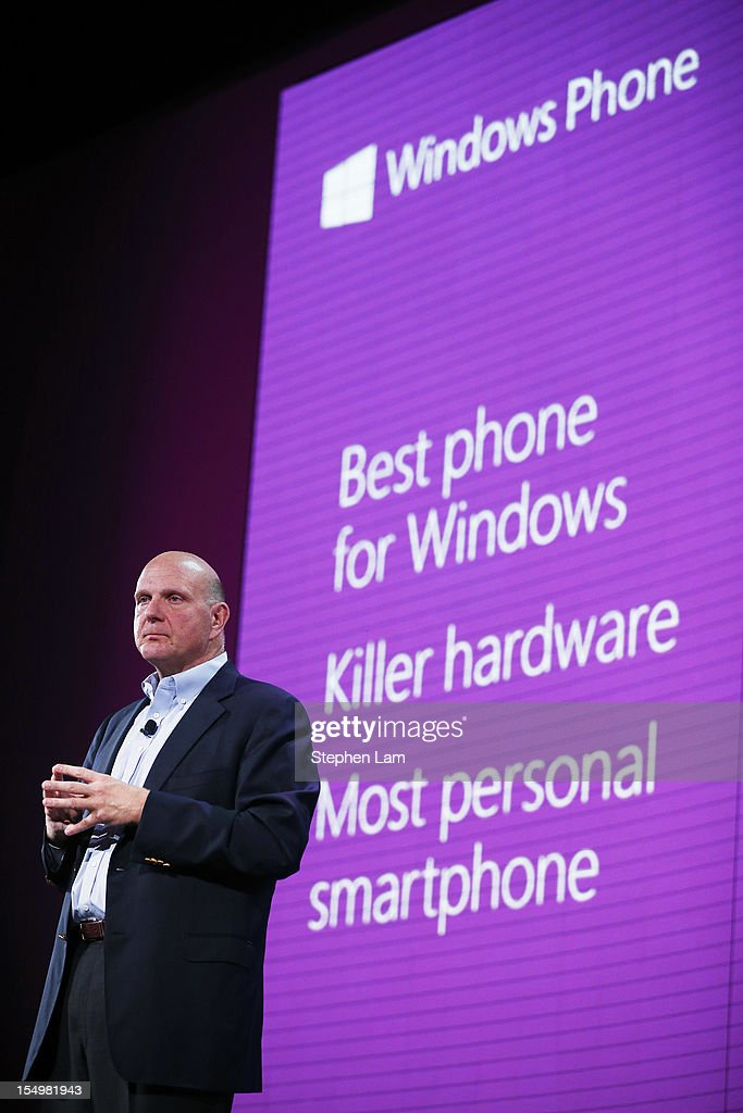Microsoft CEO <a gi-track='captionPersonalityLinkClicked' href=/galleries/search?phrase=Steve+Ballmer&family=editorial&specificpeople=211258 ng-click='$event.stopPropagation()'>Steve Ballmer</a> speaks on stage during the new Windows Phone 8 event at Bill Graham Civic Auditorium on October 29, 2012 in San Francisco, California. The Windows Phone 8 marks the Seattle-based company's latest update from its two-year-old Windows Phone 7 platform as the company looks to compete in the increasingly dense smartphone segment dominated by rivals Apple and Google.