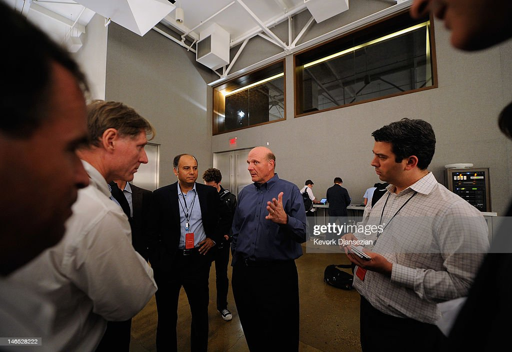 Microsoft CEO <a gi-track='captionPersonalityLinkClicked' href=/galleries/search?phrase=Steve+Ballmer&family=editorial&specificpeople=211258 ng-click='$event.stopPropagation()'>Steve Ballmer</a> speaks with reporters after the unveiling of the new tablet called Surface during a news conference at Milk Studios on June 18, 2012 in Los Angeles, California. The new Surface tablet utilizes a 10.6 inch screen with a cover that contains a full multitouch keyboard.
