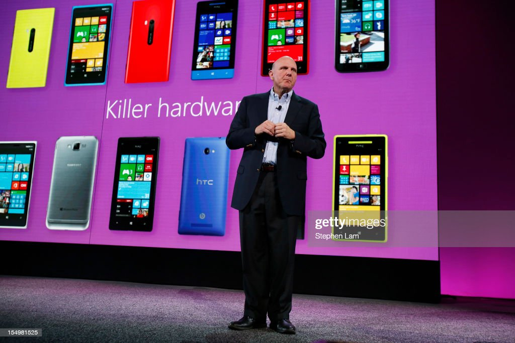 Microsoft CEO <a gi-track='captionPersonalityLinkClicked' href=/galleries/search?phrase=Steve+Ballmer&family=editorial&specificpeople=211258 ng-click='$event.stopPropagation()'>Steve Ballmer</a> unveils the new Windows Phone 8 at Bill Graham Civic Auditorium on October 29, 2012 in San Francisco, California. The Windows Phone 8 marks the Seattle-based company's latest update from its two-year-old Windows Phone 7 platform as the company looks to compete in the increasingly dense smartphone segment dominated by rivals Apple and Google.