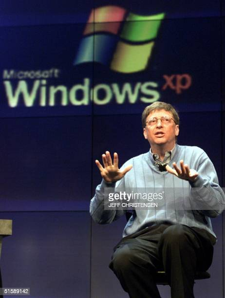 Microsoft chairman and chief software architect Bill Gates addresses the media about Windows XP previously codenamed 'Whistler' the new Windows...
