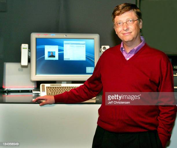 Microsoft Chairman and Chief Software Architect Bill Gates shows a new PC prototype May 5 2003 in New Orleans that he will unveil during his keynote...
