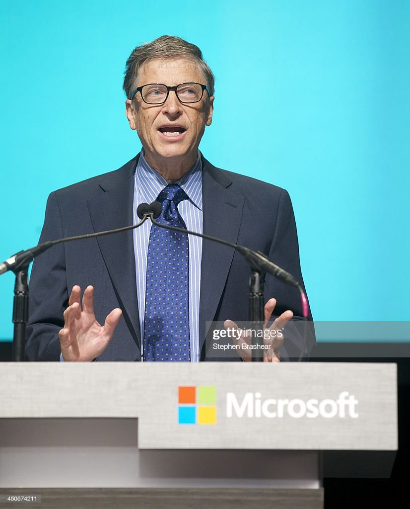 Microsoft Chairman <a gi-track='captionPersonalityLinkClicked' href=/galleries/search?phrase=Bill+Gates&family=editorial&specificpeople=202049 ng-click='$event.stopPropagation()'>Bill Gates</a> addresses shareholders during the Microsoft Shareholders Annual Meeting November 19, 2013 in Bellevue, Washington. Gates spoke about the search to replace Steve Ballmer, who was attending the meeting for the last time as CEO.