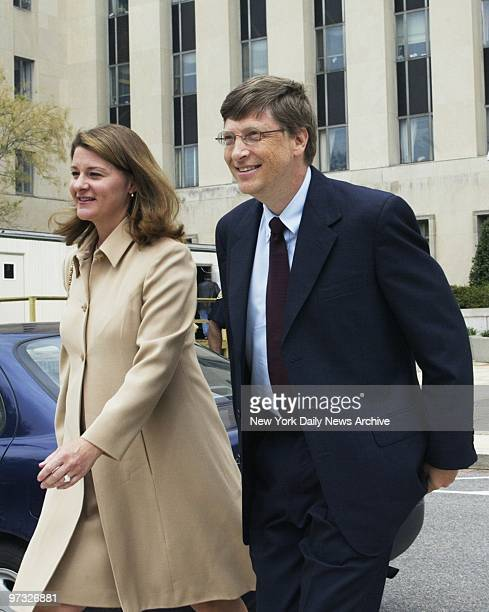 Microsoft Chairman Bill Gates and his wife Melinda arrive at the E Barrett Prettyman federal courthouse where Gates took the stand for the first time...