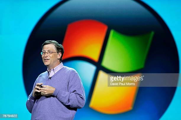 Microsoft chairman Bill Gates delivers the opening keynote address at the 2008 International Consumer Electronics Show at the Venetian January 6 2008...