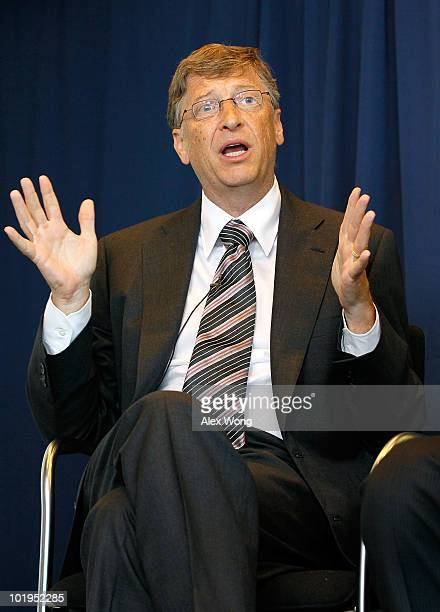 Microsoft Chairman Bill Gates speaks during a news conference at the Newseum June 10 2010 in Washington DC The news conference was to present...