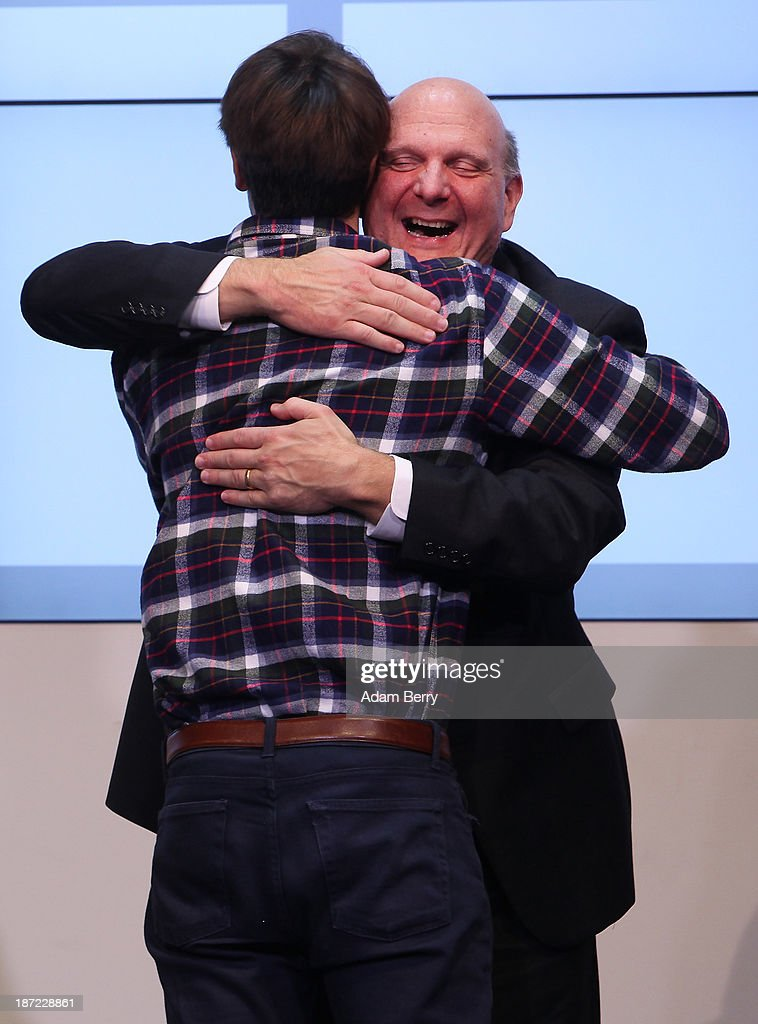 Microsoft Chief Executive <a gi-track='captionPersonalityLinkClicked' href=/galleries/search?phrase=Steve+Ballmer&family=editorial&specificpeople=211258 ng-click='$event.stopPropagation()'>Steve Ballmer</a> (R) hugs Joschka Friedag, co-founder of startup Cringle, beneficiary of the Microsoft Ventures program, as they attend the opening of the Microsoft Center Berlin on November 7, 2013 in Berlin, Germany. The Microsoft Center Berlin, part of a new worldwide initiative called Microsoft Ventures, includes support for startups, conference rooms and the company's 'Digital Eatery,' a cafe and showroom on the ground floor that lets customers try out Microsoft products along with locally-sourced dishes. The company is hoping that the venue will help ensure Microsoft has a place in the city's Internet technology scene.