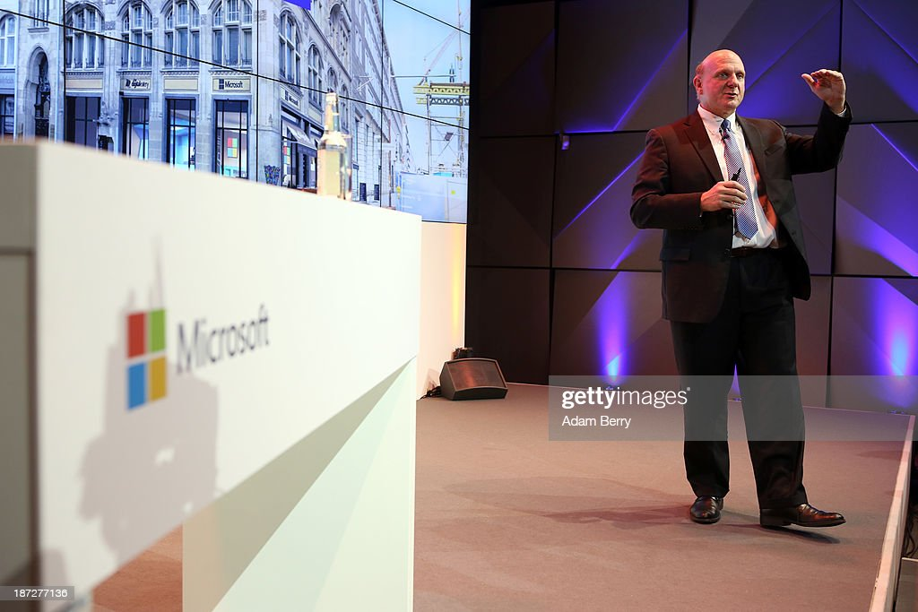 Microsoft Chief Executive <a gi-track='captionPersonalityLinkClicked' href=/galleries/search?phrase=Steve+Ballmer&family=editorial&specificpeople=211258 ng-click='$event.stopPropagation()'>Steve Ballmer</a> speaks at the opening of the Microsoft Center Berlin on November 7, 2013 in Berlin, Germany. The Microsoft Center Berlin, part of a new worldwide initiative called Microsoft Ventures, includes support for startups, conference rooms and the company's 'Digital Eatery,' a cafe and showroom on the ground floor that lets customers try out Microsoft products along with locally-sourced dishes. The company is hoping that the venue will help ensure Microsoft has a place in the city's Internet technology scene.