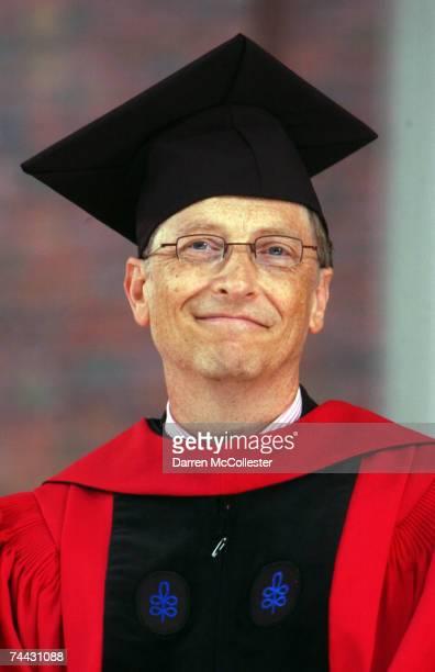 Microsoft cofounder and Chairman Bill Gates listens during commencement ceremonies at Harvard University June 7 2007 in Cambridge Massachusetts Gates...