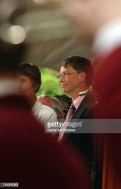 Microsoft cofounder and Chairman Bill Gates prepares to give the commencement speech at Harvard University June 7 2007 in Cambridge Massachusetts...