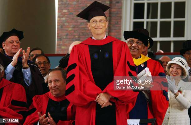Microsoft cofounder and Chairman Bill Gates receives applause during commencement ceremonies at Harvard University June 7 2007 in Cambridge...