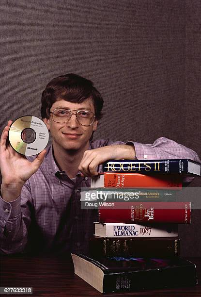 Microsoft Cofounder Bill Gates Holding a CDROM
